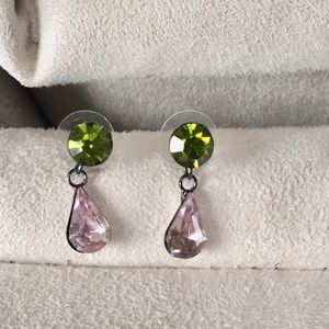 Jewelry - HOLD for @kimcook361 Pink & Green Crystal Earrings